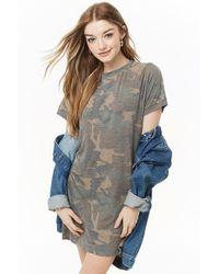 0029d306ce Forever 21 - Women s Faded Camo T-shirt Dress - Lyst