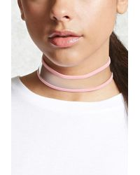 Forever 21 - Clear Faux Leather-trim Choker - Lyst