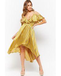 Forever 21 - Striped Open-shoulder Wrap Dress - Lyst