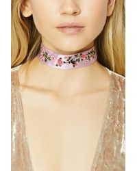 Forever 21 - Women's Floral Embroidered Denim Choker Necklace - Lyst
