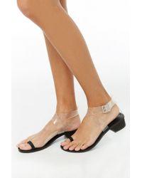 69baf75adf Forever 21 - Women's Faux Leather Block Heel Sandal - Lyst