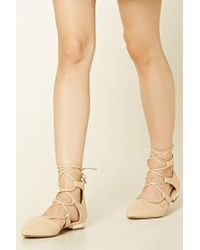 f2bfb4392f6f Forever 21 - Lace-up Faux Leather Flats - Lyst