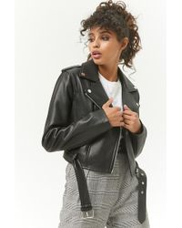Forever 21 - Cropped Faux Leather Moto Jacket - Lyst