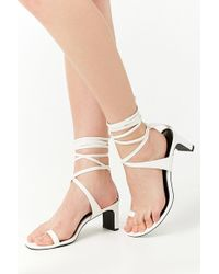 Forever 21 - Faux Leather Toe-ring Wraparound Heels - Lyst