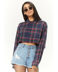 Forever 21 - Frayed Plaid Cropped Shirt - Lyst