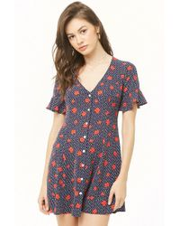 e0c26573f091 Lyst - Forever 21 Button-front Rose Floral Dress in White