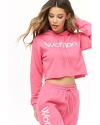 Forever 21 - Woman Graphic Cropped Hoodie - Lyst