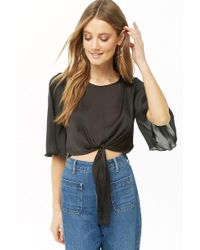 Forever 21 - Dotted Satin Crop Top - Lyst