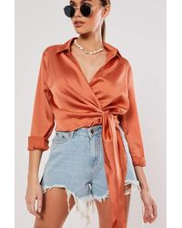 Missguided - Satin Wrap Top At - Lyst