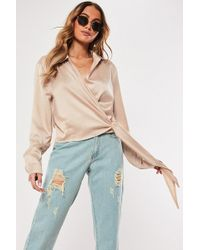 Missguided - Bronze Satin Tie Side Blouse - Lyst