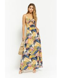 33b4718a169 Forever 21 - Women s Nature Print Cutout Maxi Dress - Lyst