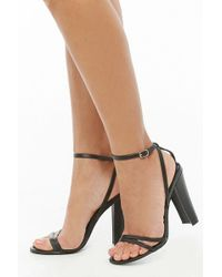 6f68aae854 Forever 21 Faux Leather Block Heels in Black - Lyst