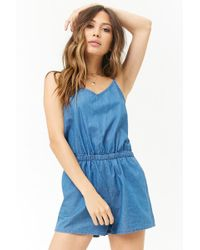 d1e484e9cdb Forever 21 - Women s Chambray Camisole Top Playsuit - Lyst