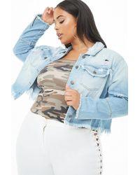 1cb0d98ed2e Forever 21 - Women s Plus Size Frayed Distressed Denim Jacket - Lyst