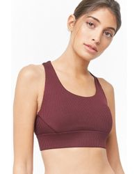 Forever 21 - High Impact - Ribbed Sports Bra , Plum - Lyst