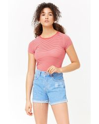 Forever 21 - Distressed Button-fly Denim Shorts - Lyst