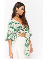 Forever 21 - Floral Tie-front Crop Top - Lyst