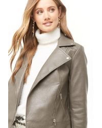 cc66074247bb3 Lyst - Forever 21 Textured Faux Leather Moto Jacket in Black