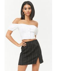 Forever 21 - Grid Print Button-front Skirt - Lyst