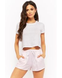 Forever 21 - Striped Satin Pyjama Shorts - Lyst