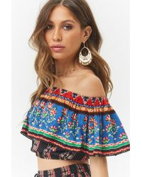 Forever 21 - Abstract Off-the-shoulder Flounce Top - Lyst