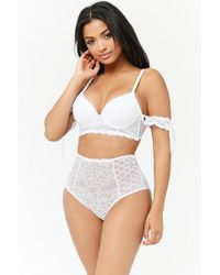 Forever 21 - Fredericks Of Hollywood Dion Lace & Mesh High-waist Panty - Lyst