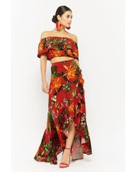 d6f8e9ff5fe Tropical Floral Print Crop Top & Maxi Skirt Set
