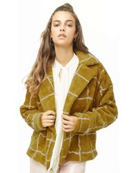 Forever 21 - Grid Print Faux Shearling Coat - Lyst