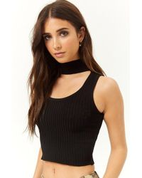 Forever 21 - Ribbed Cutout Crop Top - Lyst