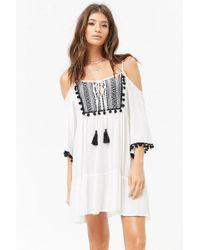 Forever 21 - Sheer -inspired Open-shoulder Peasant Dress - Lyst