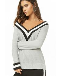 a64d6bb16400a Lyst - Forever 21 French Terry Varsity Striped Sweater in Purple