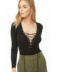 Forever 21 - Ribbed Lace-up Bodysuit - Lyst