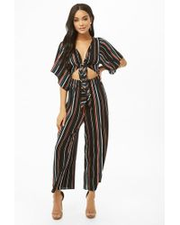 Forever 21 - Striped Tie-front Cutout Jumpsuit - Lyst