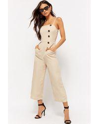 Forever 21 - Linen-blend Culotte Jumpsuit - Lyst
