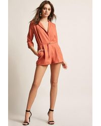 9c50c1b5c622 Forever 21 Trail Blazer Surplice Romper in Yellow - Lyst