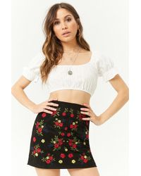dfd5b71c23 Forever 21 - Embroidered Faux Suede Mini Skirt , Black/multi - Lyst