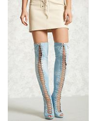 Forever 21 | Denim Over-the-knee Boots | Lyst