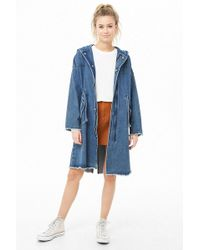 Forever 21 - Hooded Longline Denim Jacket - Lyst