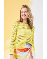 Forever 21 - Open-knit Sweater , Citron - Lyst