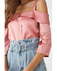fa487a83a98778 Forever 21 - Satin Open-shoulder Foldover Top - Lyst