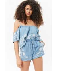 Forever 21 - Embroidered Chambray Shorts - Lyst