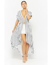 Forever 21 - Striped High-low Duster Cardigan - Lyst