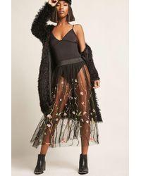 Forever 21 - Embroidered Tulle Midi Skirt - Lyst