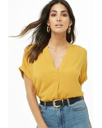 ec3f65f4bd6102 Forever 21 Pleated Bell-sleeve Top in Green - Lyst
