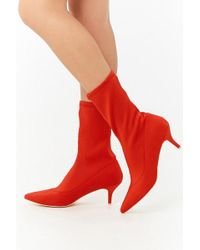 6ecceef75238 Lyst - Forever 21 Faux Suede Platform Booties in Red
