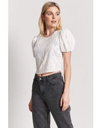 Forever 21 - Pinhole Puff-sleeve Top - Lyst