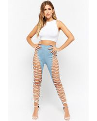 Forever 21 - Lace-up Chambray Leggings - Lyst
