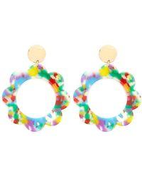 Forever 21 - Multicolour Floral Hoop Drop Earrings - Lyst