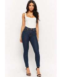 Forever 21 - High-waist Skinny Jeans , Dark Denim - Lyst