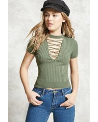 Forever 21   Strappy Ribbed Top   Lyst